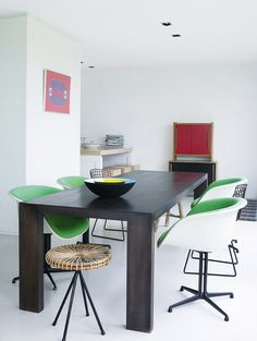 Green La Fonda Eames chairs (yum). Pinned by a Taste Setter: www.thetastesetters.com