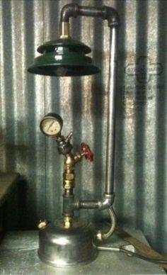 Vintage Steampunk Industrial Machine Age Coleman Lantern Lamp Art