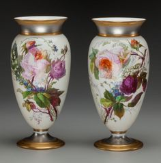 A Pair of Paris Porcelain Painted Vases, circa 1880