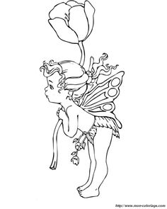 coloring Fairy, page a large flower