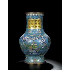 A rare and massive cloisonne hu vase with an imperial poem. Qing dynasty, Qianlong period
