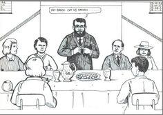 Het Heilig Avondmaal Een predikant breekt het brood aan de tafel van het Heilig Avondmaal