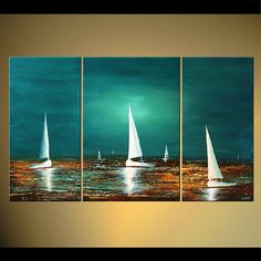 Finally, after all the deliberations, my first real piece of art. Seascape Painting x Textured Original Contemporary Sailboats Abstract Acrylic Art by Osnat