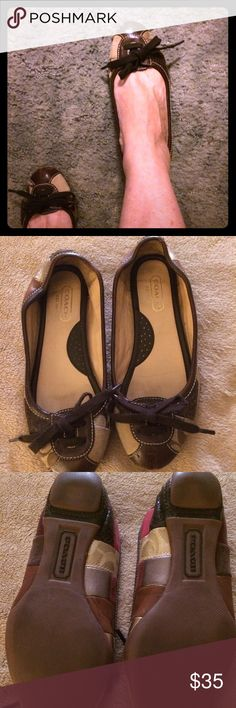 Coach leather patchwork flats Cute Coach patchwork flats worn a few times but in great condition size is a 7 very comfortable, Coach Shoes Flats & Loafers