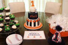 Baseball theme birthday party dessert table