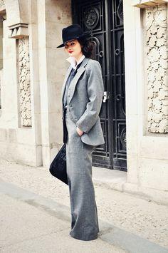 streetstyle fashion - Peony Lim wearing Yves Saint Laurent three piece suit