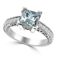 Antique Style Aquamarine Diamond Engagement Ring