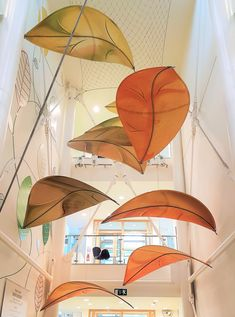 Suspended fabric sculptures we installed in an office atrium in West London
