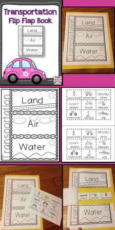 $ This flip flap has students sort modes of transportation into three categories: land, air, and water. Students color and cut 9 pictures and glue them under the correct flap. When finished, students have an interactive learning tool!