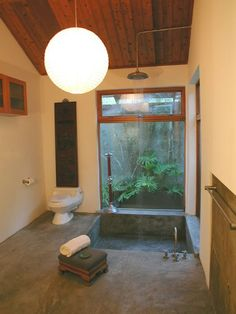 don't care for the toilet next to the soaking tub and what's with the cabinet so high? Love the soaking tub with waterfall shower. Bathtub Shower Combo, Attic Shower, Bath Shower, Bath Tub, Roman Bath House, Japanese Soaking Tubs, Japanese Bathroom, Sunken Bathtub, Studio Floor Plans