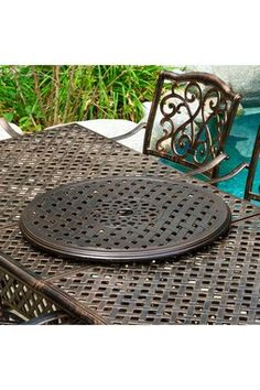 Cast Aluminum Lazy Susan Aluminum Patio, Dining Sets, Lazy Susan, Patio Dining, Outdoor Furniture, Outdoor Decor, It Cast, Home Decor, Dinner Sets