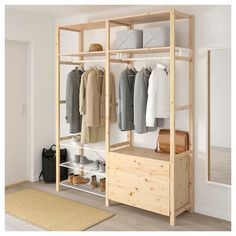 IVAR, Shelving unit with clothes rail, cm. Now in the IVAR storage system there is also a clothes rail, wire shelf and cover. Perfect if you want to create a simple wardrobe. Easy to fix in place without tools – in an existing or new combination. Ikea Shelving Unit, Metal Shelving Units, Wire Shelving, Ikea Ivar Shelves, Clothes Rail Ikea, Shelves For Clothes, Ikea Clothing Storage, Ikea Ivar Regal, Open Wardrobe
