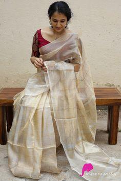 Lavanyam - House of Ayana Brocade Blouse Designs, Kerala Saree Blouse Designs, Cotton Saree Blouse Designs, Designer Blouse Patterns, Designer Silk Sarees, Designer Sarees Online, Saree Wearing Styles, Set Saree, Saree Trends