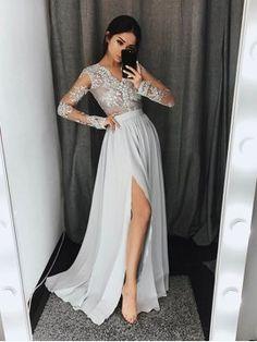 Vestido de Noche Gris Split-Front Lace de Manga Larga A-line Elegante