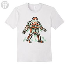 Mens Tribal Bigfoot Shirt, Funny Cool Artwork Sasquatch Gift Large White - Funny shirts (*Amazon Partner-Link)