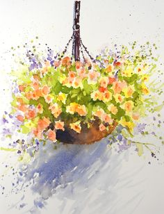 Loose Watercolour Floral Lesson: Hanging Basket by Joanne Thomas now available on ArtTutor.