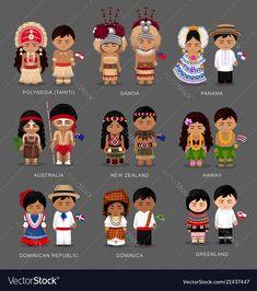 People in national dress. Polynesia (Tahiti) Samoa Panama Australia New Zealand Hawaii Dominican Republic Dominica Greenland. Set of pairs dressed in traditional costume. Tahiti, Panama Culture, Country Costumes, Costumes Around The World, World Thinking Day, Westerns, Dresses Australia, En Stock, New Zealand