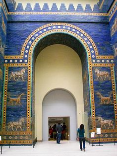 Babylon.  Ishtar Gate was con-structed of Lapis lazuli w/ alter-nating rows of bas-relief mušhuššu (dragons) & aurochs. The roof & doors were of cedar. It stands: H.47' high & W.100'. It was a double gate; the part that is shown is the smaller, inner gate: the outer gate was too large to fit into the museum rooms & is in storage.