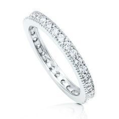This is exactly what I want!!!!    Sterling Silver Micro Pave CZ Stackable Eternity Wedding Band Ring Size 5 Allmygold Jewelers. $49.99. Rhodium Plated. Sterling Silver Micro Pave Diamond Simulant (CZ) Eternity Wedding Band Ring.. Stackable. Cubic Zirconia