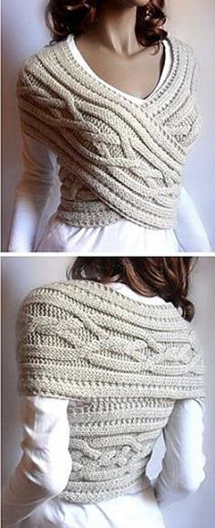 This Knitted Sweater Cowl Vest is stylish, beautiful, and sexy. I love this idea of wearing cable knitted cowl into a chic sweater vest. Perfect for cold. Look Fashion, Diy Fashion, Winter Fashion, Womens Fashion, Fashion Ideas, Fashion Sewing, Fashion Clothes, Fashion Beauty, Cheap Fashion