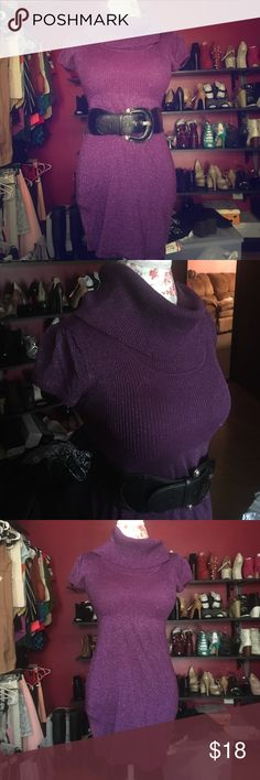 Purple scoop neck sweater Perfect for fall or winter.  Beautiful sparkle fabric.  Knit.  Can be worn with tights, leggings or even jeans for a casual look! *belt not Included mandee Tops