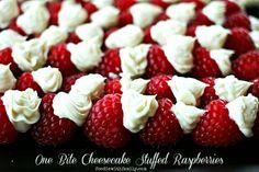One Bite Cheesecake Stuffed Raspberries
