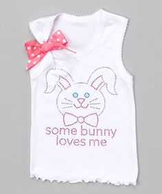 Loving this White 'Some Bunny Loves Me' Tank - Toddler & Girls on #zulily! #zulilyfinds