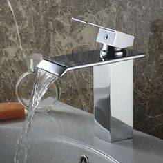 Designed to reflect modern European style, this beautiful, clean bathroom sink faucet is a fashionable and functional addition to any basin sink. Available in three contemporary colors, this single-lever faucet features a waterfall flow. Clean Bathroom Sink, Faucets Diy, Best Bathroom Scale, Bathroom Sink Faucets, Sink Faucets, Bathroom, Bathroom Gadgets, Bathroom Shower, Sink