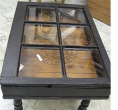 Upcycle an old window frame into a coffee table.