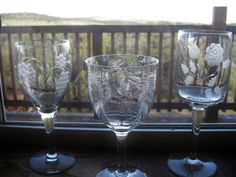Vintage Etched Crystal Stemware Excellent Mixed by ChinaGalore $42/3