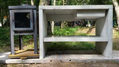 Introductie roel-s betonnen buitenkeuken met BLOK buitenkachel-bbq-woktop-pizza-oven   Concrete outdoor kitchen with integrated pizza-oven