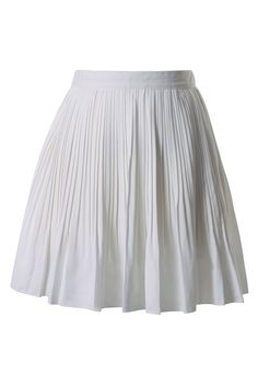 Chiffon Pleated Skirt in White