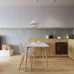 Mieszkanie młodego małżeństwa ma zaledwie 45 metrów. Dzięki zastosowaniu jasnych kolorów oraz wysokiej zabudowy, chowającej sprzęty, jest przestronne i funkcjonalne.