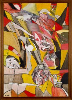 Wojciech Tut Chechliński, Bitwa, olej na płótnie, 99,5 x 65 cm, 2011 r, sygnowany (kat. 103)