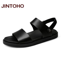 1560621260e11e JINTOHO 2017 New Men Sandals High Quality Men Leather Sandals Summer Beach  Men Shoes Leather Slippers