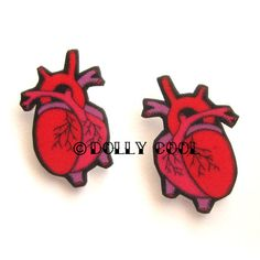 Anatomical Heart Earrings by Dolly Cool by DollyCool on Etsy