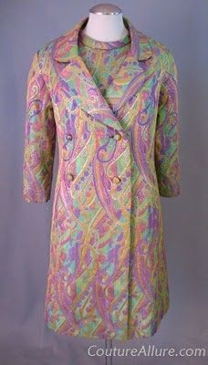 1960s Psychedelic Brocade Cocktail Dress with Matching Coat