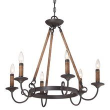 """Bandelier 6 Light 26"""" Wide Candle Style Chandelier"""