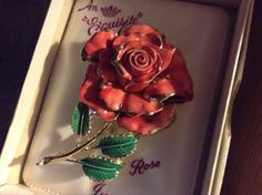 VINTAGE ROSE BROOCH, June Birthday Brooch, boxed and perfect by Exquisite. by MerryLegsandTiptoes on Etsy