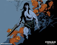 2-tone (light/shadow), strong silhouettes, simple shadow defines dimensionality  Mike Mignola's Conan