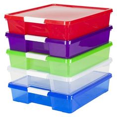 See through material helps you quickly find your supplies Perfect for organizing paper classroom supplies and more Snap shut latch allows quick access to your items Stackable design allows space saving storage Craft Storage Box, Craft Box, Plastic Storage, Storage Boxes, Plastic Craft, Paper Storage 12x12, Storage Ideas, Bead Storage, Fabric Storage