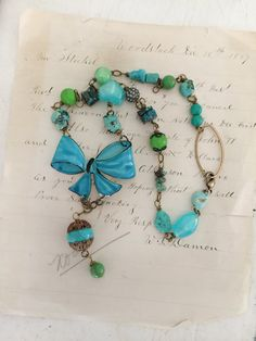 bluedupcycled boho beaded necklace repurposed jewelry by Arey