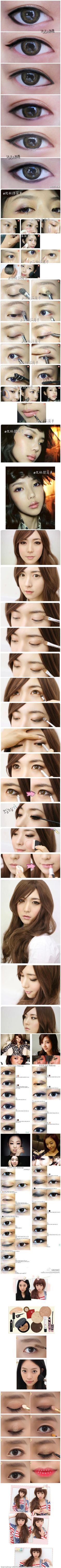 A bunch of Asian eye makeup tutorials. I really like the Korean one 3rd down from the top.