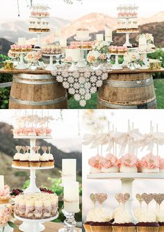 There is so much cuteness in this photo.  Love the rustic touch on the dessert table