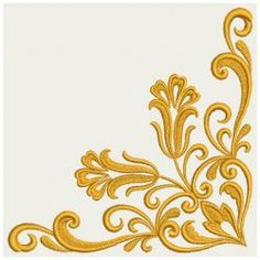 Embroidery Designs - Heart Floral Damask Corner 04(Lg)