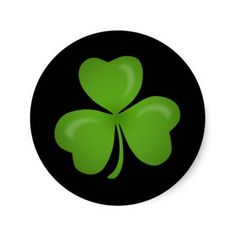From the Clown Fish Cafe store on Zazzle, these round stickers feature a cheerful green shamrock on a black background which can be changed to any other color. They are handy for use on St. Patrick's Day.