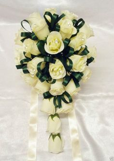 Silk Artificial Wedding Flower Bridal/B'maid Ivory Roses/Hunter Gr Med. Bouquet