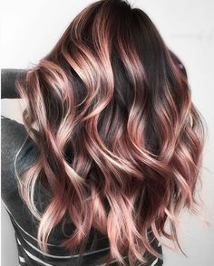Auburn Balayage, Hair Color Balayage, Ombre Hair Color, Cool Hair Color, Rose Gold Balayage Brunettes, Subtle Hair Color, Cute Hair Colors, Hair Dye Colors, Curly Hair Colours
