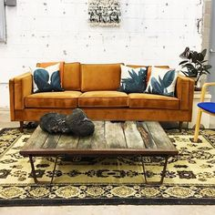 This colourful and rustic combination of pieces together with the Adelaide Sofa provide an entirely different take on 'modern'. | Photography and Interiors by: Retro Den Tulsa | Gus* Modern