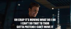 Only logical explanation why Steve didn't pick up the hammer.)<<< Because he didn't want to rule Asgard. Dc Movies, Marvel Movies, Marvel Characters, Orianna League Of Legends, Loki, Chris Evans Captain America, Fandoms, Age Of Ultron, Fandom